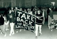Students take part in a Take Back the Night march on Duke University's campus, November 19, 1987. #womensequalityday