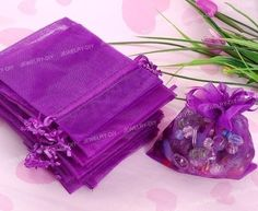 100pcs Purple Organza Wedding Favor Gift Bag Pouch