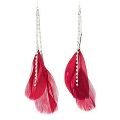 Charlotte Russe Feather Fringe Earrings (€5,26) ❤ liked on Polyvore featuring jewelry, earrings, burgundy, rhinestone stud earrings, statement earrings, burgundy earrings, fringe jewelry and feather earrings