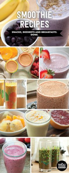 Healthy Recipes // Wondering how to eat healthy when you are in a rush? Here are 8 amazing smoothie recipes for breakfast, lunch, dinner or dessert! You'll find everything from blueberries, bananas, citrus, greens, and chocolate in here... Lot's of great healthy smoothie recipes to try.