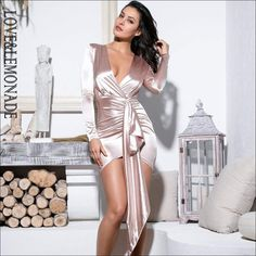 Sexy V-Neck Shirring Streamer Decoration Bodycon Party Dress Sexy V-Neck . Read more The post Sexy V-Neck Shirring Streamer Decoration Bodycon Party Dress appeared first on How To Be Trendy. Bodycon Dress Parties, Sexy Party Dress, Cheap Dresses, Sexy Dresses, Laura Dresses, Nylons, Nude Dress, Pink Dress, Metallic Dress