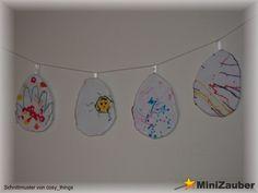 Die Eier haben die Kinder mit Filzstiften bemalt. Ein individuelles Geschenk für die Oma zu Ostern. Anleitung von cosy_things