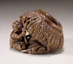 Tsukamoto Kyokusai (Japan)  Basket Weaver, late 19th-early 20th century  Netsuke, Wood