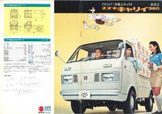 Suzuki Carry - brochure Japanese Cars, Vintage Japanese, Suzuki Carry, Mini Vans, Japanese Domestic Market, Advertising Sales, Camper Van, Motor Car, Buses