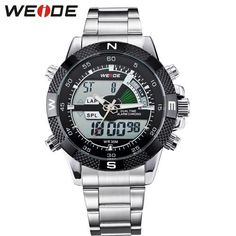 WEIDE Men Fashion Sports Watches Men's Quartz LED Clock Man Army Military Wrist Watch Full Steel Analog Watch Relogio Masculino