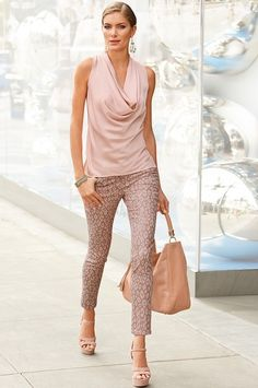 Drapy cowl neck tank top and cropped pants...this is my 3rd base. I would wear this with flat sandals though!