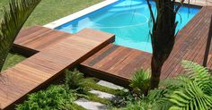 Creative design and meticulous installation has earned Fynbos a leading reputation in the field of landscaping. Wooden Pool Deck, Wooden Decks, Landscape Design, Garden Design, Natural Swimming Pools, Cool Deck, Outdoor Living, Outdoor Decor, Modern Contemporary