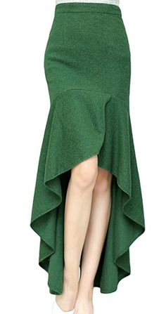 AvaCostume Women's Irregular Lotus Leaf Mermaid Fish Tail Long Skirt, XS, Green