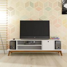 Os móveis com pés palito e puxador de furo são tendência na decoração e são ideais para ambientes retrô.
