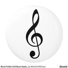 Black Treble Clef Music Symbol Notation Ceramic Knob