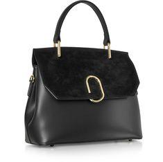 6910700c2a Le Parmentier Black Thais Suede and Leather Satchel Bag at FORZIERI Satchel  Bag, Leather Satchel