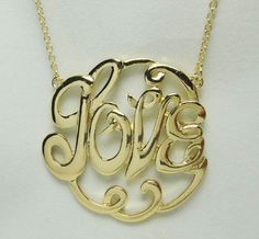 Gold Love Necklace Bridesmaid Jewelries Personalized by LDnest, $5.50