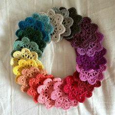 crochet wreath with scrap yarn