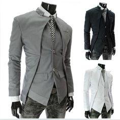Korean Fashion MEN Slim FIT Asymmetrical Design Suit 9314 | eBay