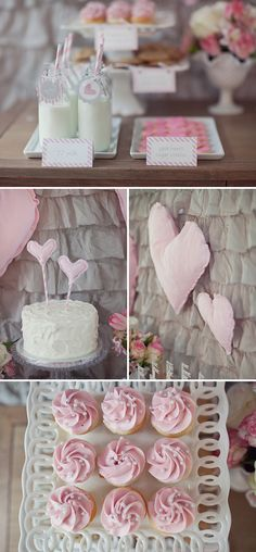 """Girly Milk  Cookies Birthday Party in Pink and Gray.  Love the cupcakes with the """"pearls"""""""