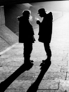 Stanley Kubrick & Malcolm McDowell on the set of A Clockwork Orange (1971)