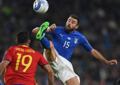 Andrea Barzagli of Italy clears the ball during the FIFA 2018 World Cup Qualifier between Italy and Spain at Juventus Stadium on October 6, 2016 in Turin, Italy.