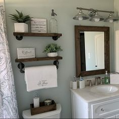 mirror shelves toilet paper box farmhouse bathroom decor ideas olathe custom furniture store - Tidy up your toiletries with this floating shelf and towel bar set. The sturdy bathroom floating shelves provide storage in a rustic, yet cozy, farmho. Wooden Wall Shelves, Wood Floating Shelves, Mirror Shelves, Wall Wood, Bar Shelves, Wooden Walls, Floating Cabinets, Rustic Floating Shelves, Small Shelves
