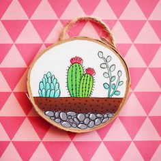 Updates from walrusandtoad on Etsy Cactus Terrarium, Mini Terrarium, Mini Cactus, Cactus Art, Large Embroidery Hoop, Teal Color Schemes, Fine Pens, Watercolor Cactus, Painting On Wood