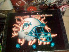 Miami Dolphin Theme Nameboard w/small digital clock & 3 aqua knobs on bottom to hang things handmade by Delynn Designs of Texas