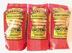 The Original Maui CookKwees Hawaii Cookies 3 Pack- 6 oz. Each (Coconut Macadamia Nut Shortbread) Hawaiian Shortbread Cookie Recipe, Hawaiian Cookies, Shortbread Cookies, Hawaiian Desserts, Cookies Macadamia, Coconut Cookies, Yummy Cookies, Cookie Bakery, Cookie Cake Pie