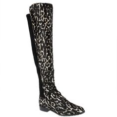 Stuart #Weitzman black and white leopard print #50/50 boots, available from www.wunderl.com