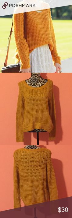 🎉HP🎉 Roxy Mustard Chunky Cable Knit Sweater M ROXY Mustard Sweater in size Medium Sweatshirt is made of 100% Acrylic Features cable knit textures, slight boat neckline, and long sleeves. Gently used and pre-owned, in mint condtio As pictured, there is a small knit loop is coming undone on the upper left shoulder. (No smells, or stains). Measurements (taken laying flat): Bust 23 Waist 23  Sleeve Length: 29 If you have any questions feel free to ask! Please check out my other listings for…
