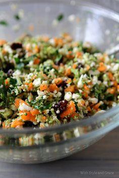 Detox Shredded Vegetable Salad  cauliflower, broccoli, carrots, parsley, lemon juice, sunflower seeds, raisins, oranges