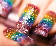 rainbow sparkle nails