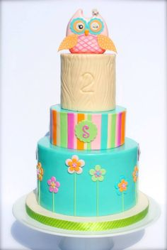 Owl Birthday Cake - I designed this cake from the party decorations.  My favorite part was the wood stump tier, I'm so glad I made it ivory rather than brown.  TFL!