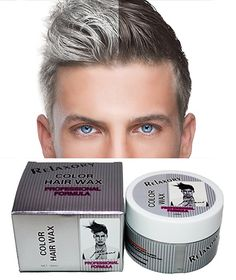 Relaxory Temporary Color Hair Wax Molding Clay Gery White Purple Gold Blue Pink For Men Girl Party (White) - FrenzyStyle Grey Hair Wax, Silver Grey Hair, White Hair, Popular Mens Hairstyles, Cool Hairstyles, Mens Hairstyles Color, Hairstyles Haircuts, Men Hair Color, Colored Hair Tips