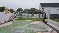 Pool enclosure Ravena - your option if you want to walk on one side of the pool Pool Enclosures, Swimming Pool Decks