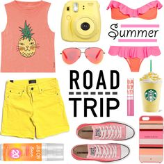 Summer Road Trip by lgb321 on Polyvore featuring Billabong, Vince, Je m'en fous, Converse, Kate Spade, Victoria Beckham, Maybelline, Jason and Fujifilm