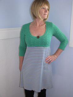 cute tunic green dress ooak boho cottage girl upcycled dress medium teen ladies by UpcycledSwag on Etsy