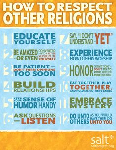 "Being a leader means respect for others' ways of thinking. ""How to Respect Other Religions"" ~ www.saltproject.org #religion"