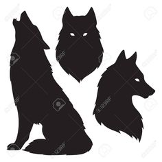 Set of wolf silhouettes isolated. Sticker, print or tattoo design vector illustration. Wolf Silhouette, Silhouette Tattoos, Wolf Stencil, Galaxy Wolf, Wolf Painting, Fox Dog, Cool Forearm Tattoos, Spirited Art, Cute Kawaii Drawings