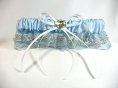 Blue Lace Bridal Garter with Large Oval Jewel $29.95; #garters #wedding #somethingblue