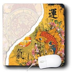 3dRose LLC 8 x 8 x 0.25 Inches Mouse Pad, Oriental Japanese Kanji Luck Energy Koi Fish Pink Sakura Cherry Blossom Flowers and Asian Symbols (mp_116377_1) - http://www.yourfishguide.com/3drose-llc-8-x-8-x-0-25-inches-mouse-pad-oriental-japanese-kanji-luck-energy-koi-fish-pink-sakura-cherry-blossom-flowers-and-asian-symbols-mp_116377_1/?utm_source=PN&utm_medium=http%3A%2F%2Fwww.pinterest.com%2Fpin%2F368450813235896433&utm_campaign=SNAP%2Bfrom%2BKoi+Fish+Facts