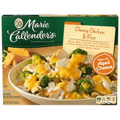 Cheesy Chicken & Rice casserole from Marie Callender's is perfect for any night of the week! Cheesy Chicken Rice Casserole, Broccoli Cheese Rice, Chicken Patty Recipes, Chicken Patties, Cheesy Sauce, Frozen Chicken, Frozen Meals, White Meat, Roasted Turkey