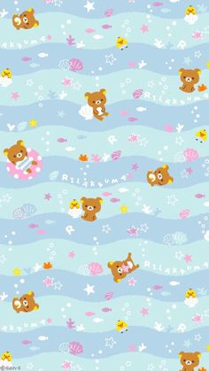 Rilakkuma Wallpaper, Sanrio Wallpaper, Cute Anime Wallpaper, Of Wallpaper, Cartoon Wallpaper, Pattern Wallpaper, Wallpaper Backgrounds, Cellphone Wallpaper, Iphone Wallpaper