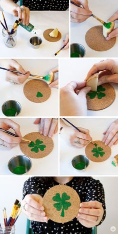 DIY potato stamping coasters for St. Patrick's Day – Think.Make.Share.