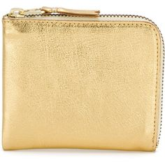 Comme Des Garçons Wallet metallic zipped wallet (£71) ❤ liked on Polyvore featuring bags, wallets, metallic, unisex bags, zip wallet, zip close bags, zipper wallet and beige bags