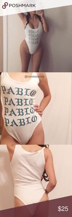 """Pablo Yeezy letters body suit hot Super hot high low high YEEZY DU.PE - PAVLO KIM K BODY SUIT  •no trades  •SHIPS TOMORROW  •Brand new!  •TRUE TO SIZE  ❗️❗️❗️brand added for exposure ATT! ❗️price reflects authenticity  @goguios in insta (my sis) is wearing size small   visit """"Closet Rules"""" for more info Yeezy Swim"""