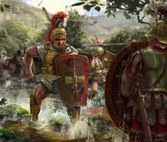 Samnite soldiers in skirmish with legionnaires of the Roman Republic by Manuel Krommenacker Ancient Rome, Ancient History, Imperial Legion, Roman Warriors, Roman Legion, Historia Universal, Greek Warrior, Roman Republic, Roman Soldiers