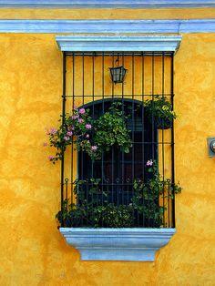 window in Antigua; Guatemala