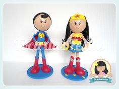 Fofuchos Super Homem e Mulher Maravilha  Em média 28cm cada.  Valor unitário.  Confecciono outros personagens. R$ 30,00