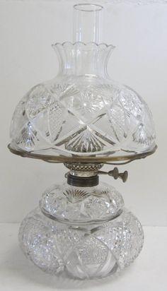 cut glass oil lamp by Mount Washington Glass Company Auction Estimate on Dec 2012 Antique Oil Lamps, Antique Lighting, Rustic Lighting, Vintage Lamps, Cut Glass Vase, Glass Art, Diwali Lamps, Candle Power, Art Deco Lamps