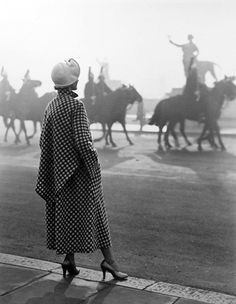 NORMAN PARKINSON Bianca Mosca Check Coat, Anne Chambers 1949