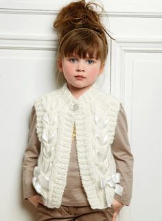 Vest with ribbon for girl knitting pattern sizes 4T12T di tatsy, $3,50