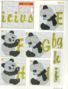 ABC PANDAS Cross Stitch Designs, Cross Stitch Patterns, Panda Craft, Cross Stitch Alphabet, Plastic Canvas Crafts, Beaded Animals, Le Point, Panda Bear, Cross Stitching